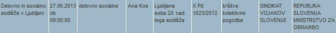 Razpored aktualnih obravnav Iz spletne strani Delovnega in socialnega sodišča v Ljubljani