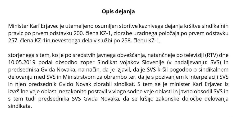 Očitana kazniva dejanja ministru Karlu Erjavcu v kazenski ovadbi