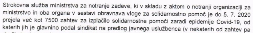 Ministrstvo za notranje zadeve o 7500 zahtevkih za izplačilo solidarnostne pomoči, glavnina preko sindikata