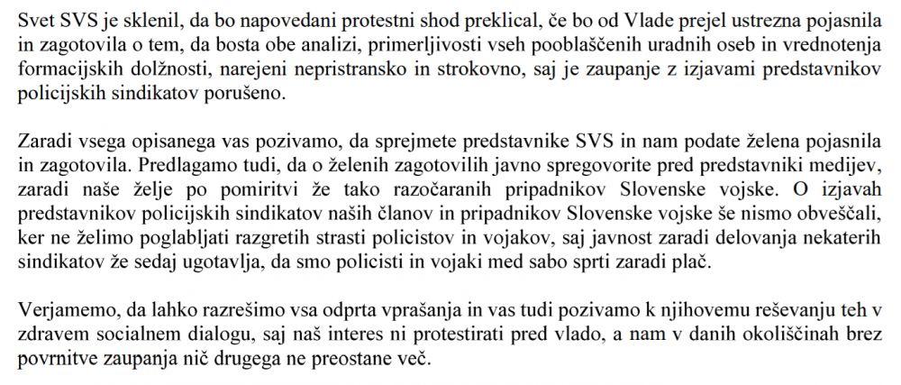 Izsek iz pisma SVS predsedniku vlade