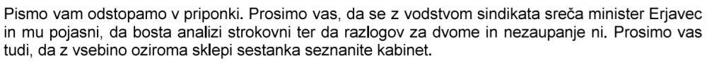 Izsek iz odstopa pisma SVS kabineta predsednika vlade ministru Karlu Erjavce