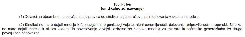 Izsek 100. b člena iz Zakona o obrambi glede mnenjj sindikata
