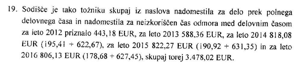 Priznano nadomestilo za čas malice in primopredajo pred in po delu po 15 minut v višini 3.478,02 EUR