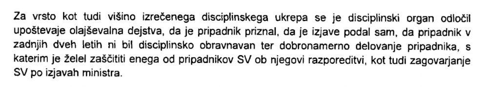 Izsek odločbe disciplinskega organa o branjenju SV po izjavah Karla Erjavca o SV in pripadnika SV ob razporeditvi