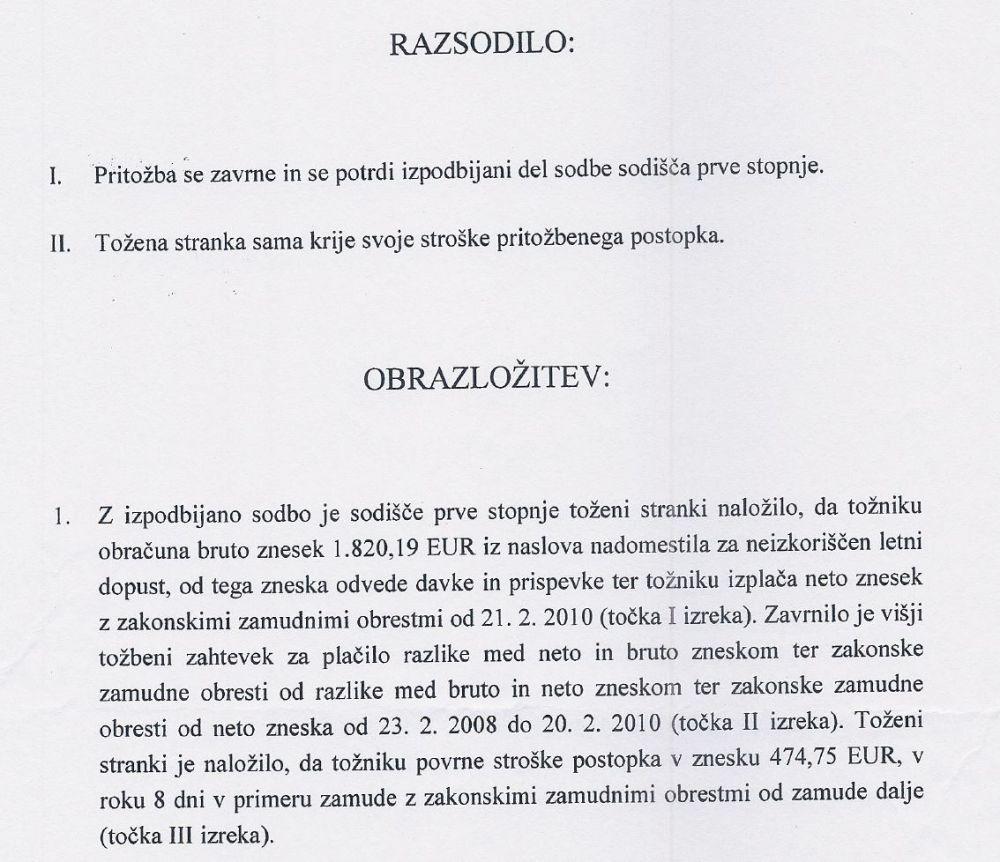 Izrek in prva točka obrazložitve sodbe Višjega delovnega in socialnega sodišča