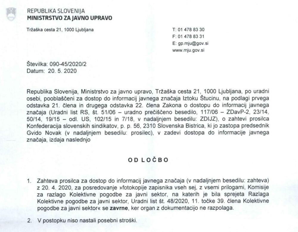 Izsek iz odločbe Ministrstva za javno upravo