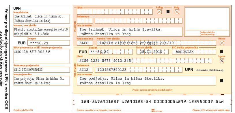 Univerzalni plačilni nalog - položnica za elektriko