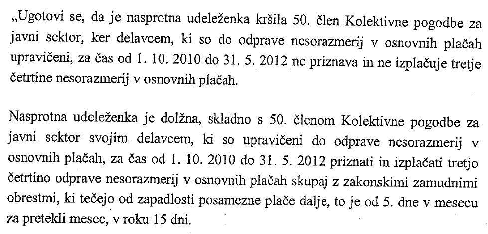 Izrek sodbe Višjega delovnega in socialnega sodišča o izplačilu nesorazmerij v 15 dneh