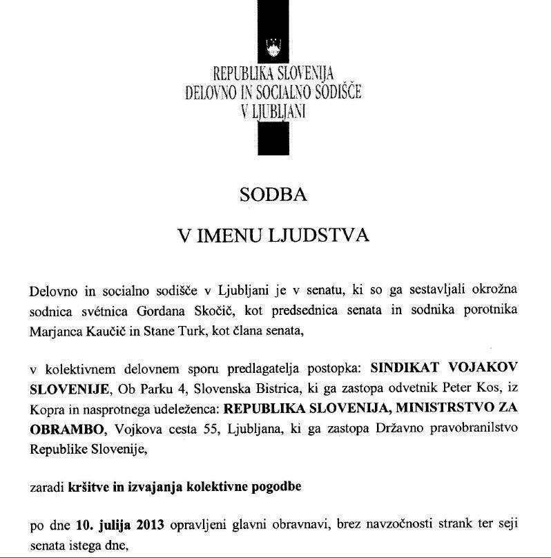 Sodba v imenu ljudstva v kolektivnem sporu SVS zaradi kršitve in izvajanja kolektivne pogodbe