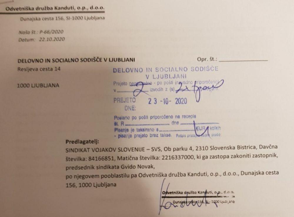 Današnja vložitev kolektivnega spora na Delovno in socialno sodišče v Ljubljani