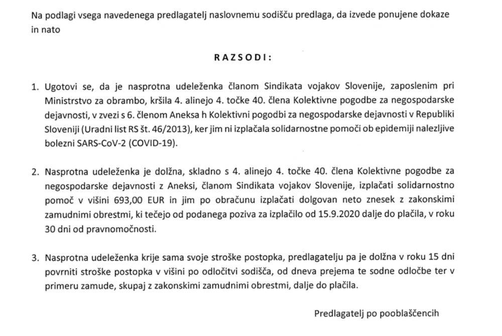 Tožbeni zahtevek v kolektivnem sporu SVS za solidarnostno pomoč zaradi epidemije Covid-19