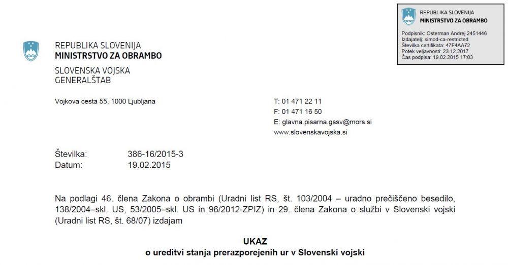 Sporen Ukaz Generalštaba Slovenske vojske