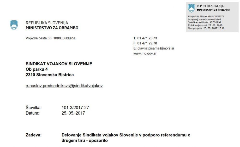 Opozorilo Ministrstva za obrambo SVS-ju