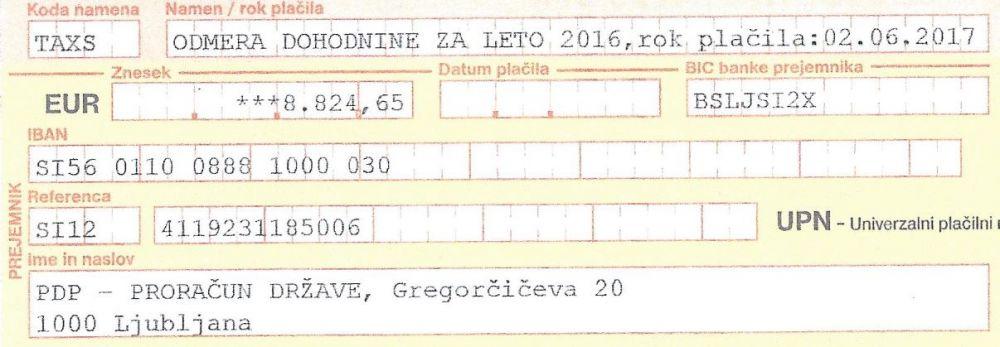 Doplačilo dohodnine 2016 za častnika SV - 8.824 EUR