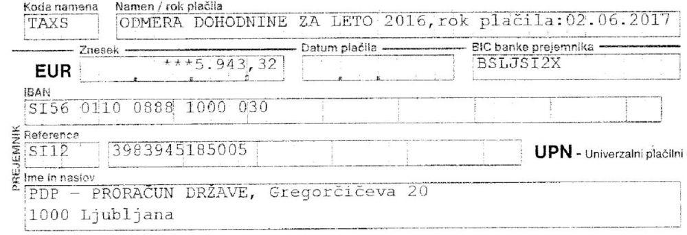 Doplačilo dohodnine pripadnika SV - 5.943 EUR