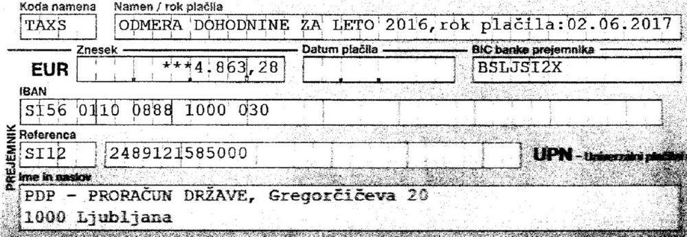Doplačilo dohodnine pripadnika SV - 4.863 EUR