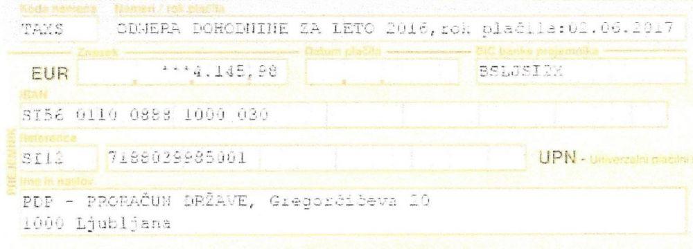 Doplačilo dohodnine pripadnika SV - 4.145 EUR