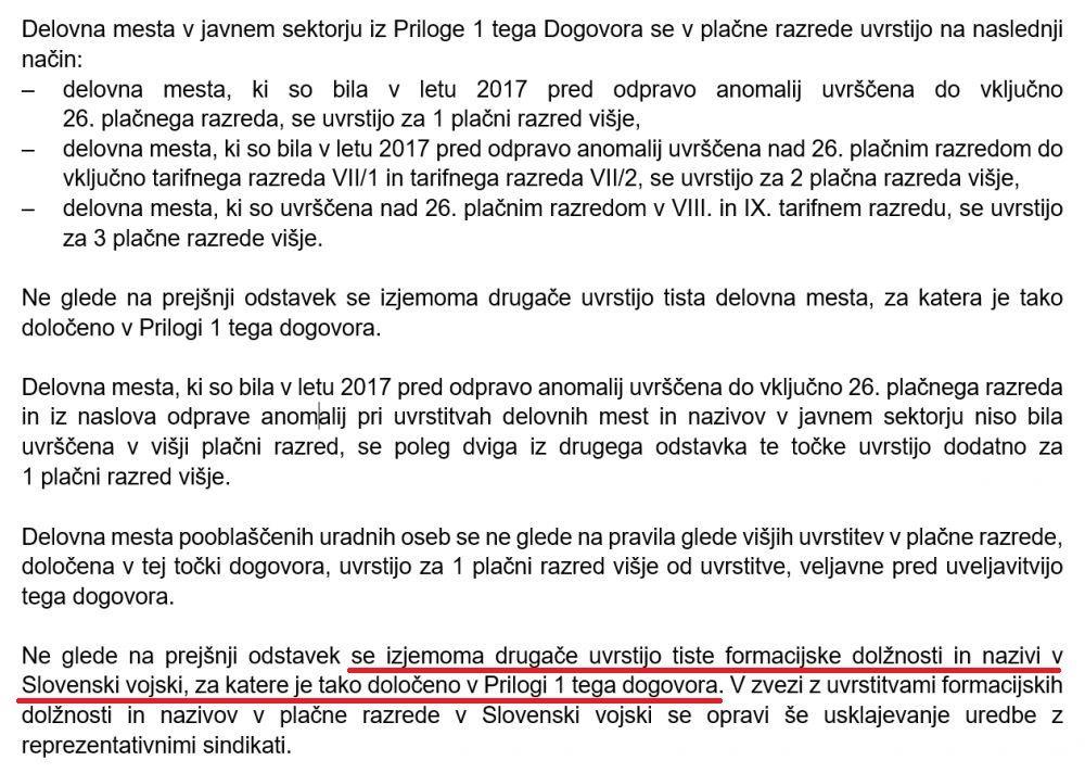Dvig plač iz stavkovnega sporazuma, posebej za Slovensko vojsko po prilogi 1