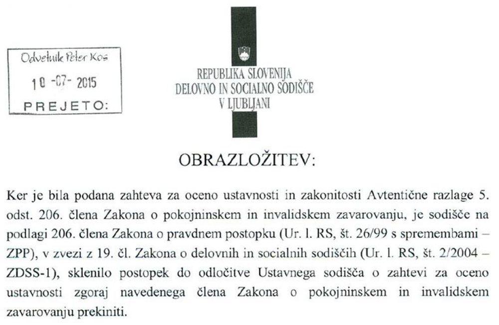 Obrazložitev sodišča o ustavitvi vseh pravdnih postopkov do odločitve Ustavnega sodišča