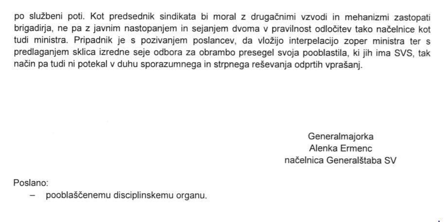 Napotki načelnice Generalštaba generalmajorke Alenke Ermenc predsedniku SVS Gvidu Novaku o dolžnem izvajanju sindikalnega delovanja v zaključku pooblastila