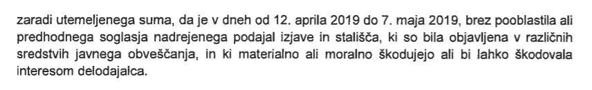 O sumu podajanja materialno in moralno škodljivih izjav in stališč za delodajalca - za ministra Karla Erjavca in načelnico Alenko Ermenc